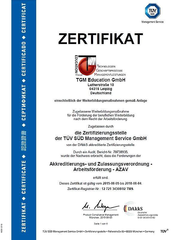 AZAV Zertifizierung der TGM 2015